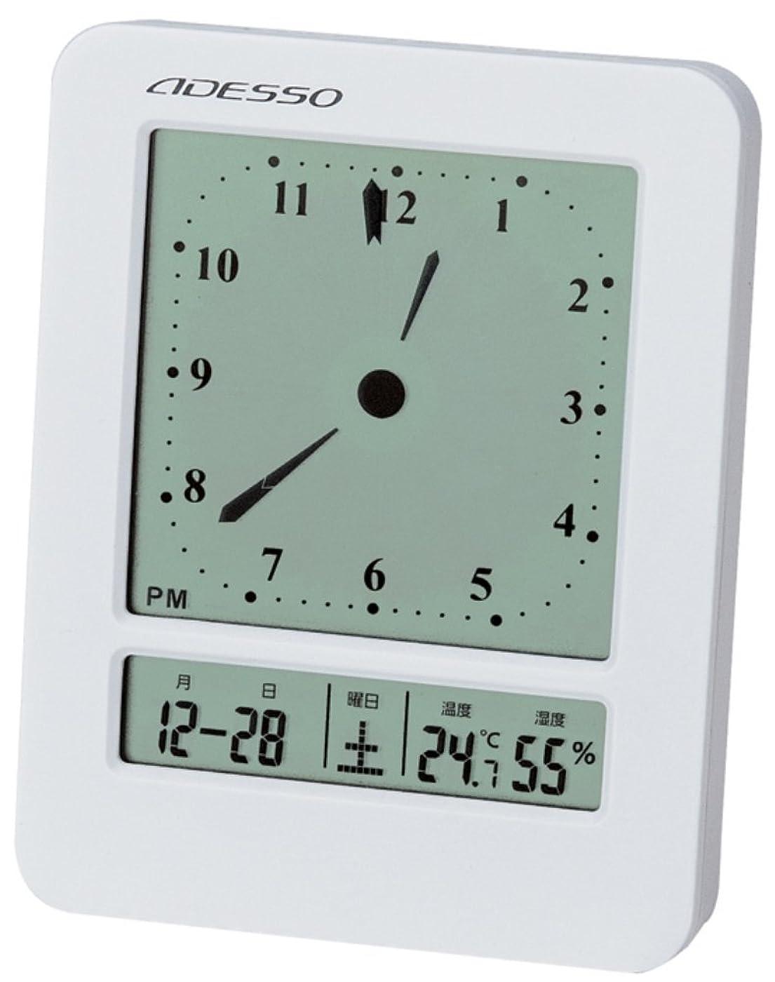 裁定バナー内部ADESSO(アデッソ) 目覚まし時計 電波 デジタル 温度 湿度 日付表示 ホワイト KW9270