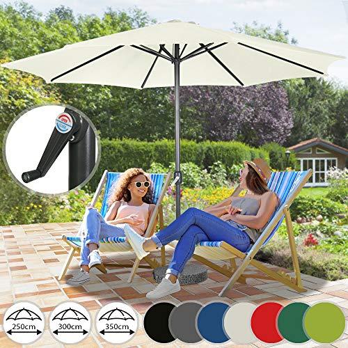 Sonnenschirm in Ø 2,5m / Ø 3m / Ø 3,5m - in Farbwahl aus Stahlrohr und Wasserabweisender Schirmbezug, mit Kurbel - Marktschirm, Gartenschirm, Terrassenschirm, Ampelschirm, Strandschirm, Sonnenschutz (Ø 3 m, Beige)