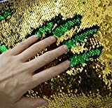 Zdada Mermaid Reversible Sequin Fabric - 1Y 3Feet Green and Gold Sequin Fabric by The Yard,Two Colors Flip Sequin Fabric for Clothing Wedding/Evening Dress DIY