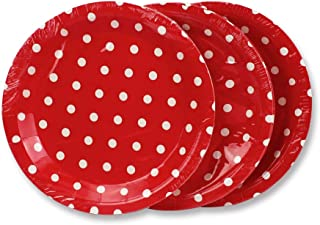 Red Polka Dot Paper Plates 36pcs - 9inch Biodegradable Round Party Plates for Cakes, Dessert, Snack, Fruits