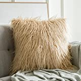 MIULEE Decorative Faux Fur Throw Pillow Cover Fluffy New Luxury Series Style Case for Couch Cushion Sofa Bedroom 20 x 20 Inch Brown