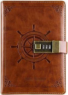 دفتر يوميات جميل B6 مذكرة مبتكرة قفل كلمة السر من الجلد الصناعي قفل مذكرة رقمية بقفل يوميات يوميات يوميات يوميات يوميات دا...