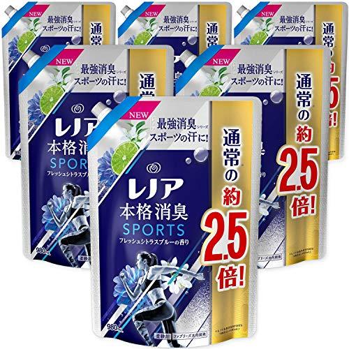 レノア 本格消臭 柔軟剤 スポーツ フレッシュシトラスブルー 詰め替え 約2.5倍(980mL)×6袋