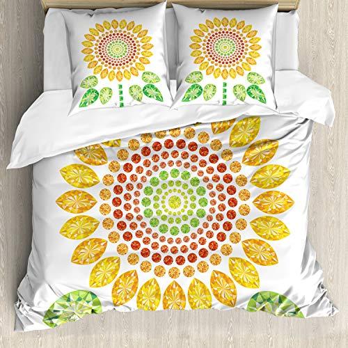 ABAKUHAUS Zonnebloem Dekbedovertrekset, Zonnebloem Mandala Ontwerp, Decoratieve 3-delige Bedset met 2 Sierslopen, 155 cm x 220 cm, Geel Wit en Groen