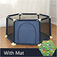 Baby Playpen Playard With Mat, Anti-Fall Breathable Waterproof Safety Fence With Sturdy Bases Play Area Ball Pit For Home Park Backyard Girls Boys (Color : Blue 1.5m)