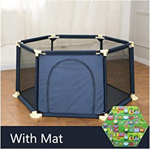 Baby Playpen Fence For Infants  Removable Anti-Fall Safety Play Center With Sturdy Bases Park Playard Ball Pit For Indoor Outdoor Room Park Backyard  Color Blue 1 8m