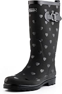 Women Fashion Rain Boots,Waterproof Garden Shoes for Outdoor Use with Comfortable Insole