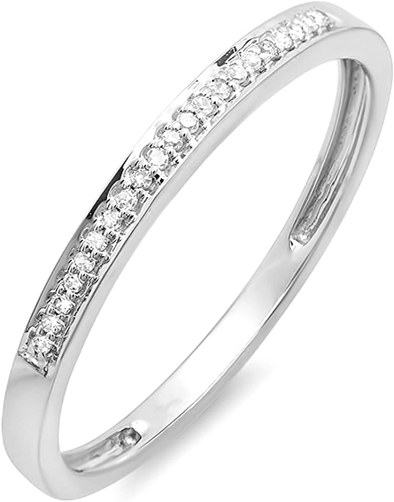 Dazzlingrock Collection 0.06 Carat (ctw) 10K Gold Round Diamond Ring Wedding Anniversary Stackable Band