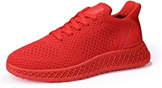 Fashion Shoes, Fashion Shoes Men Athletic Shoes for Sports Shoes Lace Up Style Mesh Material Fashion Pure Color and Individual Sewing Comfortable Shoes, Breathable Shoes (Color : Red, Size : 6 UK)