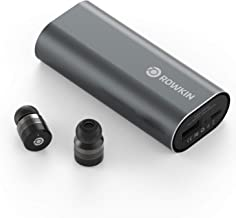 Rowkin Bit Charge Touch Control True Wireless Earbuds Headphones: 50+ Hours Bluetooth 5 Smallest Earphones & Charging Case. Deep Bass Sound Headset, Mic & Noise Reduction for Android Samsung & iPhone