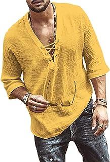Onsoyours Camisas Hombre Casual Cuello V Slim Fit Sólido Playa Manga Larga Tops Blusa Camisa de Estilo Étnico Retro Otoño ...