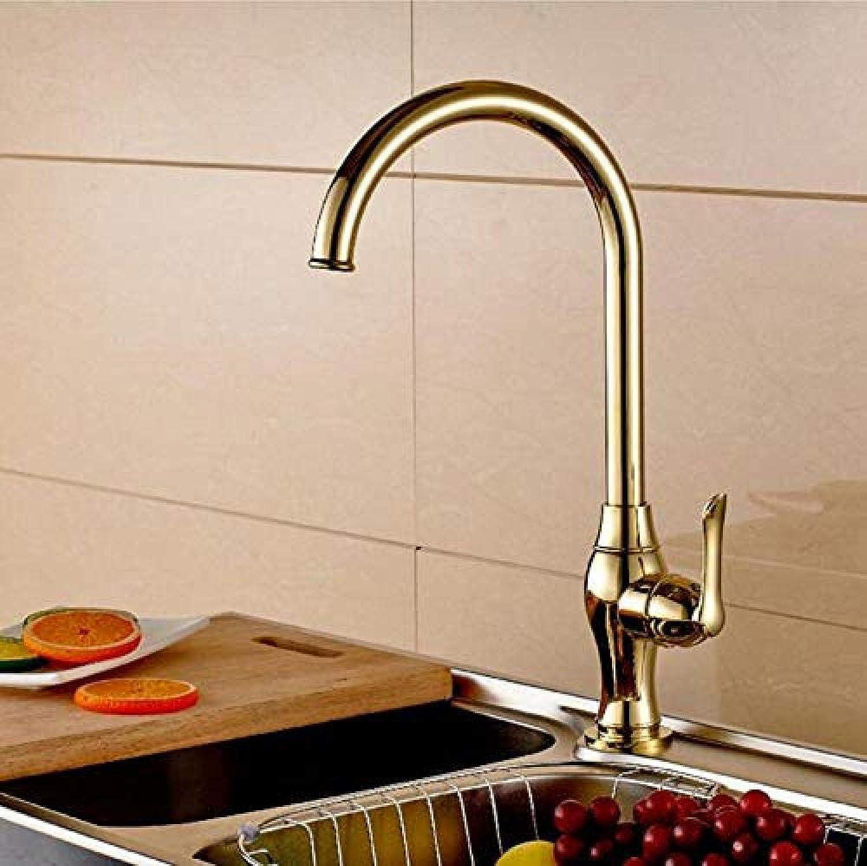 Massivem Messing Goldenen Küchenarmatur mit einem Handgriff Gold Spüle Wasserhahn von 360-Grad-Drehung Messing Wasserhahn