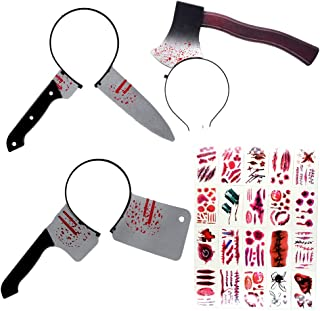 ibohr 3pcs Halloween Headbands Scary Zombie Makeup Bloody Knife Through Head Horrible Halloween Favors Props, 20pcs Halloween Tattoo Sticker, for Teens & Adults,One Size Fits Most Black
