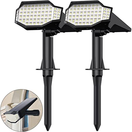 Trswyop Lampe Solaire Extérieur 66 LED Spot Solaire Extérieur éclairage Paysage Installation 2 en 1 Applique et Lampadaire IP65 étanche led Réglable Sans fil Lumière Solaire Exterieur Jardin [2 Pack]