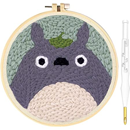 Wool Queen Punch Needle Starter Kit | Cartoon Rug Hooking Beginner Kit, with an Adjustable Embroidery Pen and 8.6'' Hoop for Kids Adults Craft Gift-Totoro