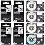 COLORWING 交換用 カシオ ネームランド テープ 12mm 6mm 9mm 18mm 白地に黒文字 ラベルライター テープ カートリッジ XR-6WE XR-9WE XR-12WE XR-18WE 4個セットCASIO らべるらいたーKL-TF7 KL-S20 KL-SP10 ラベルライター テプラ 対応