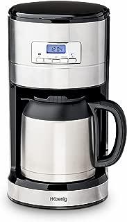 H.Koenig Cafetera de Goteo Programable, 10 Tazas, 1.2 Litro, 1000 W, Jarra Isotérmica, Acero Inoxidable STW26