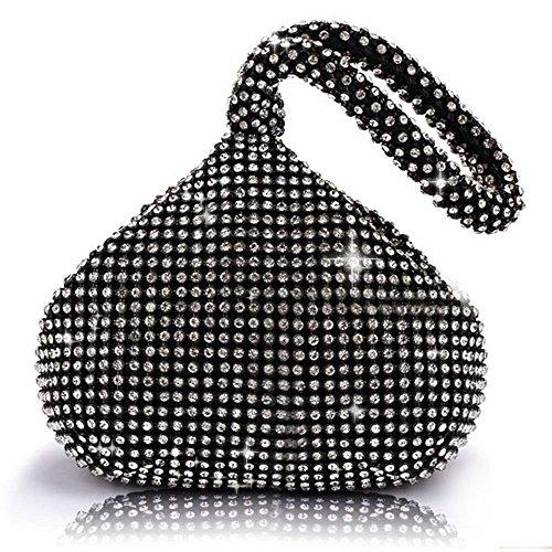 J&G dreieckige Rhinestone Strass Damen Unterarmtasche Abendhandtasche Party Tasche Hochzeit Handtasche (Schwarz)