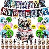Hilloly 47 Pieces Demon Slayer Decoración de Cumpleaños Set, Conjunto de Banner de Globo, Demon Slayer Cupcake Topper, Anime de Dibujos Animados del Fiesta Suministros Balloons, Boys and Grils