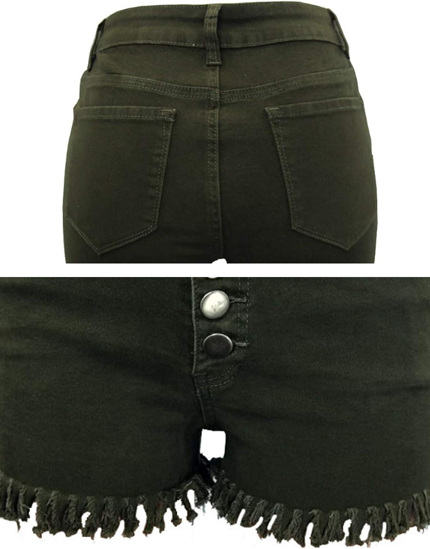 Bestgift Women's Mid Rise Frayed Raw Hem Buttoned Denim Shorts