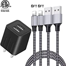 iPhone Charger, JAHMAI Nylon Braided Fast Charging Cord 2Pack 6ft Data Sync Transfer Lightning Cable Wall Charger Dual Port Plug Adapter(ETL Listed)Compatible With iPhone XS MAX/XR/X/8/7/Plus/6S/6/SE