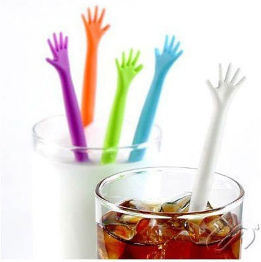   FOYARA 20Pcs Creative Cute Help Me Hand Shaped Tea Milk Coffee Juice Drink Muddler Stirrers Swizzle Stick Stirring Bar Rod Mixed-color: Swizzle Sticks