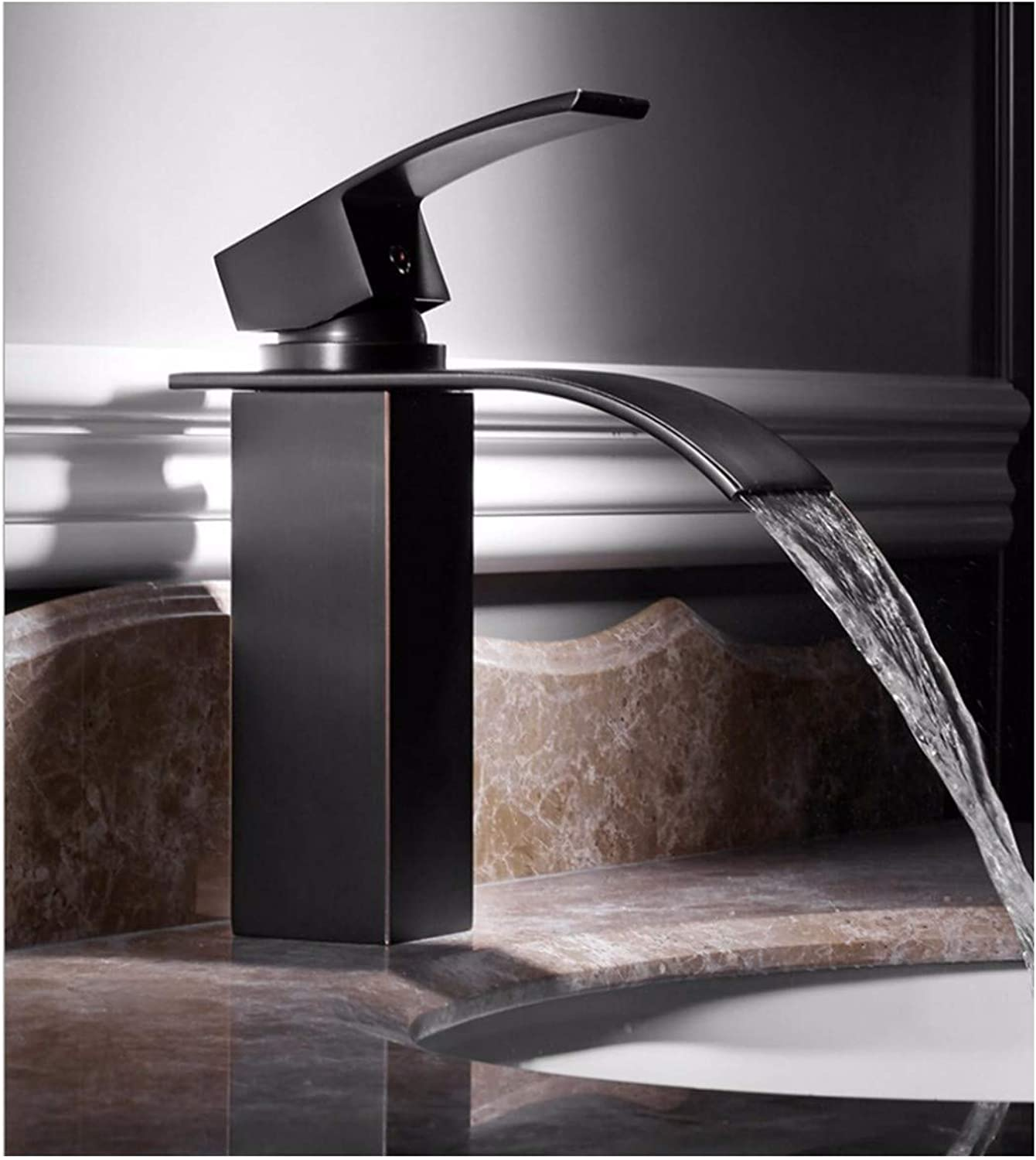 PatTheTap Vintage Kitchen Bathroom Waterfall Faucet Retro Brushed Black Brass Tap Sink Basin Water Tap Hot and Cold Mixing Water-Tap Square Seat 1-Hole 1 Handle