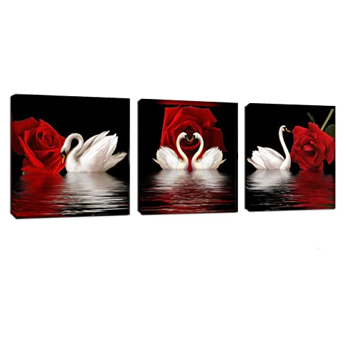 b00088e4a3a 3 Panels Beautiful Romantic Swans Art Print on Canvas Red Rose Flowers Wall  Art Decor Stretched
