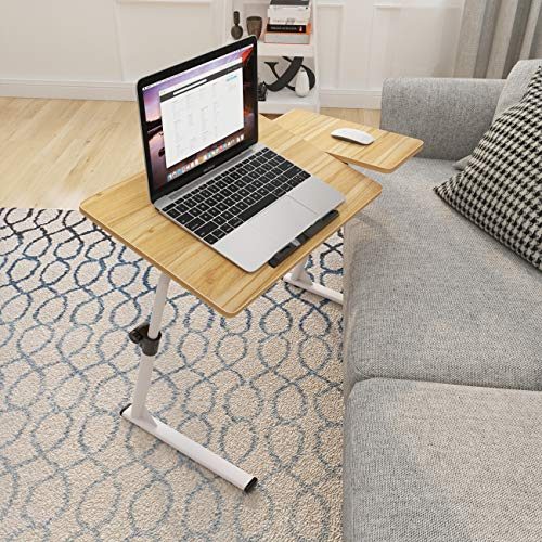 soges Laptoptisch höhenverstellbar, Laptopständer Holz, 80x40cm Betttisch Essentisch Laptoptisch Notebooktisch für Bett und Sofa, Teak S1-2OK-N