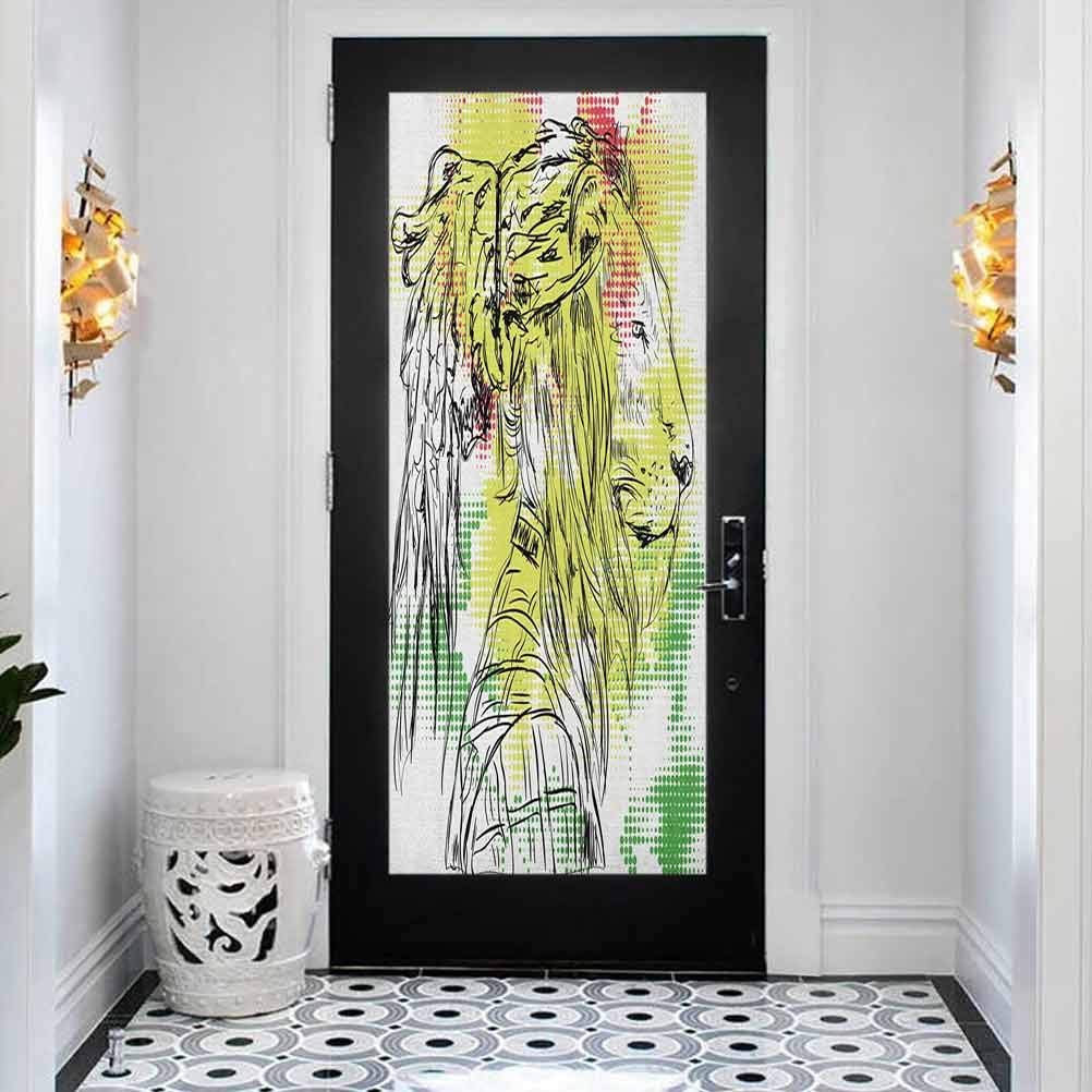 Door Stickers Decal 3D Decor Mural Superior Rasta 100% quality warranty! Black and Wh