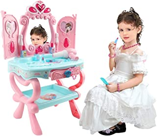 Miklan Dress-Up Toy Vanities Beauty Dresser Table Set with Induction Function & Makeup Accessories, Pretend Play Toys for Girls Kids