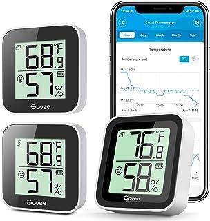 Bundle-3 Items: Govee Temperature Humidity Sensor 3 Pack، Mini Bluetooth Hygrometer Thermometer with App Alert