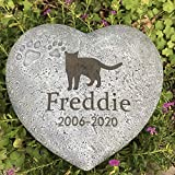 Claratut Personalized Dog Pet Memorial Stone, Heart Shaped Dog Cat Pet Grave Marker, Pet Paw Memorial Tombstone Garden Stone, Customizable Name&Date, Sympathy Pet Loss Gift for Dog Or Cat