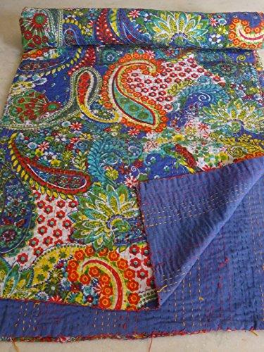 Tribal Asian Textiles Ikat-Tagesdecke aus Baumwolle, wendbar, Vintage-Kantha-Überwurf, Baumwolle, handgefertigt, Blumenmuster, Gudri-Tagesdecke 1098