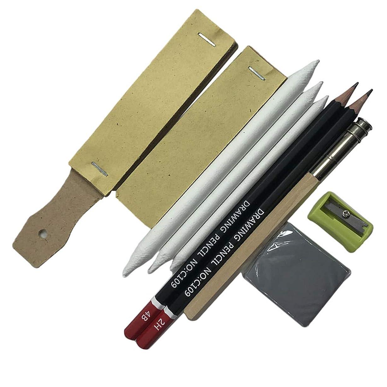 略奪デジタル位置づけるスケッチ鉛筆 10個セット 鉛筆セット 消しゴム 鉛筆削り ボード 描画バッグ 素描 画材セット