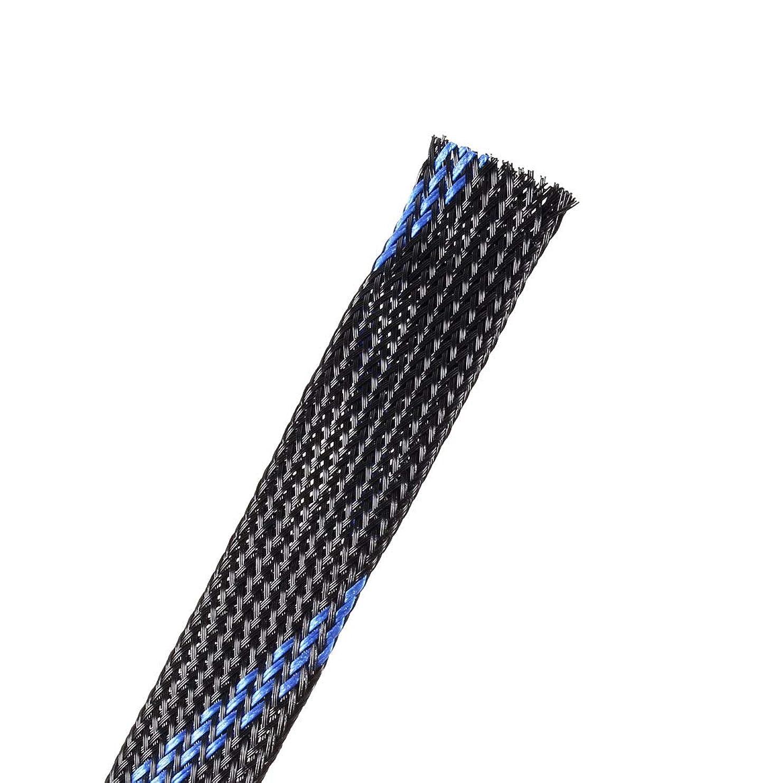 結婚クリケット電子uxcell コードプロテクター ポリエチレンテレフタレート製 ブルー PET拡張可能コードプロテクター ケーブル織機編組 チューブ電線スリーブ 16-18mmワイヤ