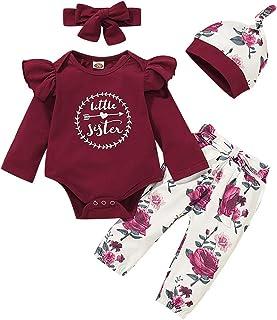 Shiningbaby Conjunto de ropa para bebé niña Little Sister, pelele, camiseta y rosa, pantalón y cinta para la cabeza, 3 piezas