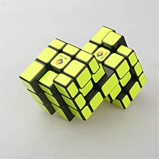 High quality Siamese Rubik Cube, 3rd-order 2x3 Rubik Cube Black Background Fluorescent Yellow Sticker Shaped Cube for Chil...