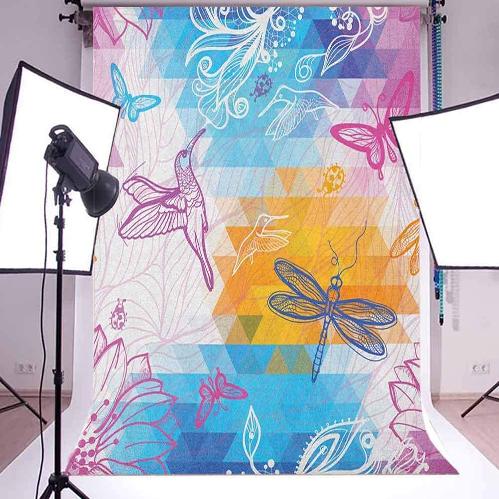 8x12 FT Abstract Vinyl Photography Backdrop,Ocean Themed Wave Design Marine Artwork Aquatic Color Palette Horizontal Lines Background for Baby Birthday Party Wedding Studio Props Photography