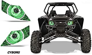 AMR Racing UTV Headlight Eye Graphic Decal Cover for Arctic Cat Wildcat - Cyborg Green
