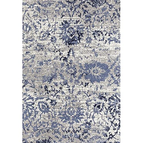 ADGO Ravenna Collection Modern Contemporary Floral Design Live Vivid Color Jute Backed Area Rugs, Navy