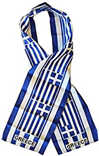 Greece Country Lightweight Flag Printed Knitted Style Scarf 8x60