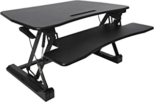 Songmics/Standing Desk Height-Adjustable Seat Steharb Eitsp Bib Monitor Stand with Detachable Keyboard Bracket, Spacious Table Top LSD07B – 90 x 59 cm – Black