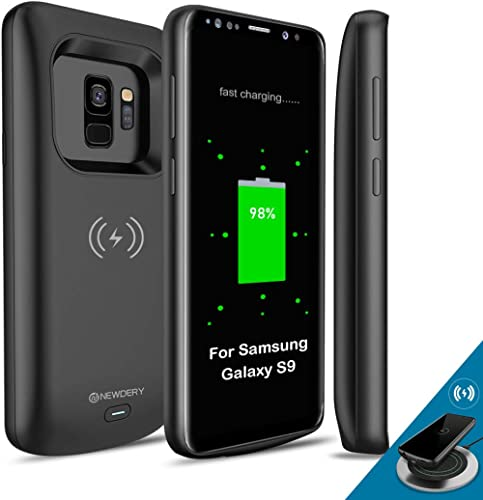 Newdery Upgraded Samsung Galaxy S9 Battery Case Qi Wireless Charging Compatible, 4700mAh Slim Rechargeable Extended C...