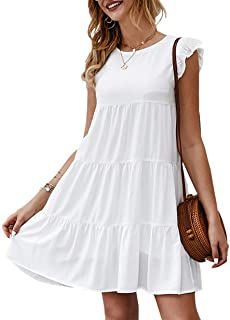 Women's Summer Dress Sleeveless Ruffle Sleeve Round Neck Mini Dress Solid Color Loose Fit Short Flowy Pleated Dress
