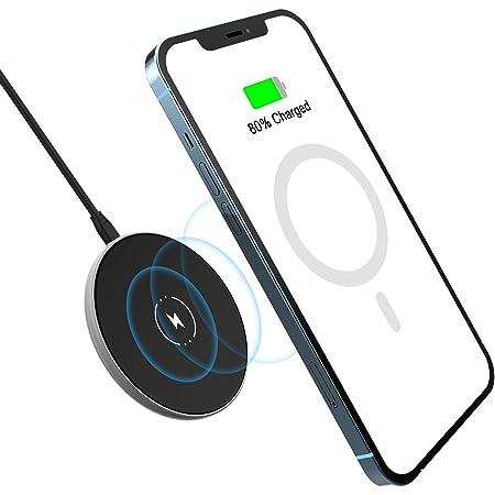 「2021最新版」 NANAMI ワイヤレス充電器 マグネット式 急速 (magsafe充電器) iPhone 12/12 Pro/12 Pro Max/12 Mini AirPods 2/Pro 超薄型 小型 貼り付け充電 無線充電器 7.5W/10W/15W出力 急速充電 Type-C USBケーブル付き Quick Charge2.0/3.0/PDアダプター対応 ブラック