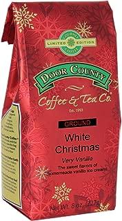 Door County Coffee, Holiday Flavored Coffee, White Christmas, Vanilla Ice Cream Flavored Coffee, Limited Time, Medium Roast, Ground Coffee, 8 oz Bag
