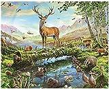 Punto de Cruz Kit adultosBordado-Ciervos del bosque -DIY Costura Preimpresa Principiantes Bordado Lona Creatividad Decoración regalo manualidades16x20pulgada