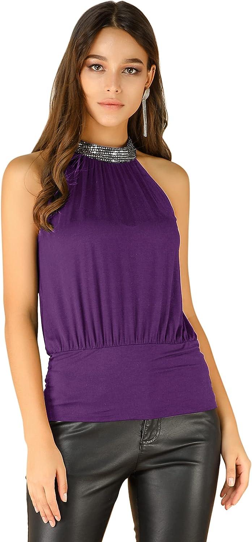 Allegra K Women's Blouson Top Sleeveless Night Out Sequin Halter Tank Top