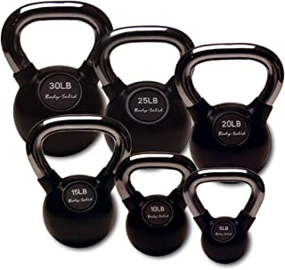 Body-Solid Chrome Handle Rubber Kettle Bell Set Singles